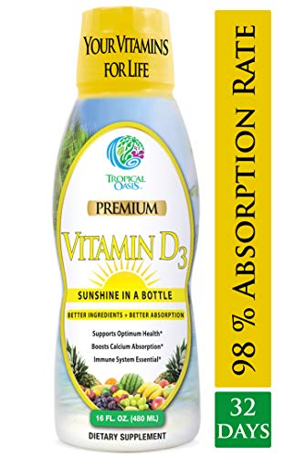Tropical Oasis Liquid Vitamin D3 - 5000 IU per serv - Promotes strong bones & healthy muscle function. PLUS natural mood booster- Liquid D3 supplement for Maximum 96% Absorption Rate- 16 oz - 32 Serv