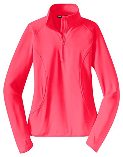 - Sport-Tek Women's Sport Wick Stretch 1/2 Zip Pullover M Hot Coral