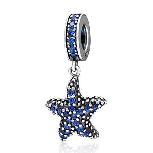 Tropical Starfish Dangling Charm - 925 Sterling Silver CZ Stones Summer Paradise Beads - European Style -