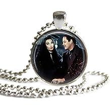 Morticia and Gomez Addams Necklace 1 inch Picture Pendant