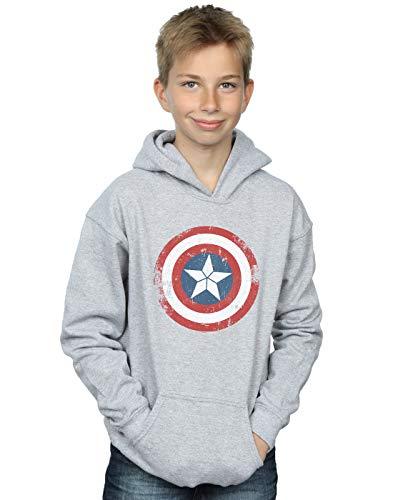 Marvel Boys Captain America Civil War Distressed Shield Hoodie Sport Grey 12-13 Years