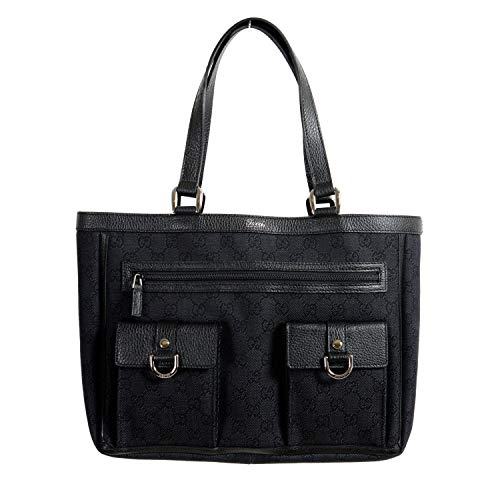 Gucci Women's Black GG Print Canvas Leather Trimmed Abbey Pocket Tote Bag ()