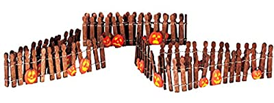 Lemax 44134 Pumpkin Wire Wooden Fence Spooky Town Accessory Village Halloween Decor O G Scale Retired