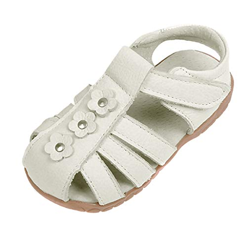 (Respctful ♫♫ Girls Genuine Leather Soft Closed Toe Princess Flat Shoes Summer Sandals Casual Princess Flat Shoes Beige)
