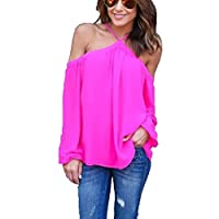 HAPEE Women's Spaghetti Halter Off The Shoulder Blouse Long Sleeve Shirt Tops