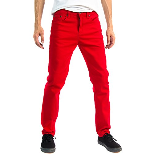 Alta Designer Fashion Mens Slim Fit Skinny Denim Jeans - Red - 36