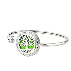 Jenia 25MM Stainless Steel Locket Crystal Bracelet Essential Oil Diffuser Bangle Bracelet with Refill Pads (tree of life diffuser)