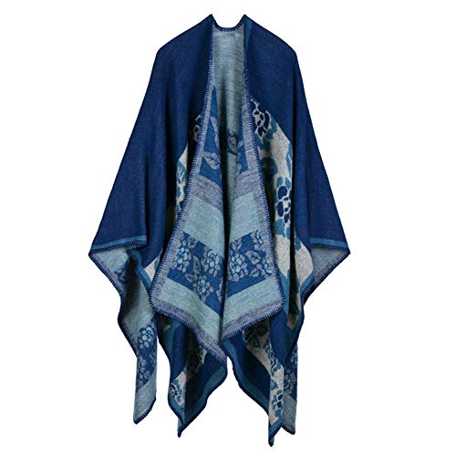 Rookay RK Women Cardigan Shawl Wrap Sweater Coat for Autumn Winter Knitted Cashmere Poncho Capes (130x155CM, 10 Flower Navy)