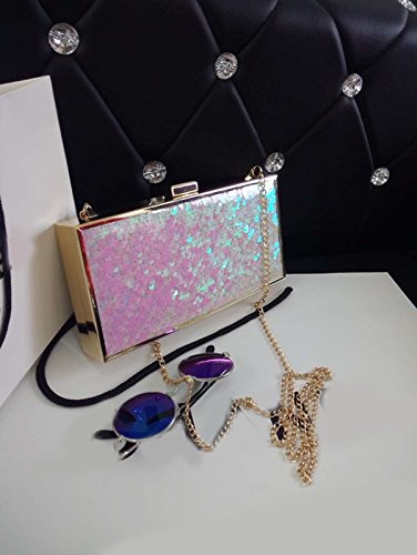 Zarapack para mujer rosa duro bolso de mano de con diseño de lentejuelas y para cadena de funda con tapa para