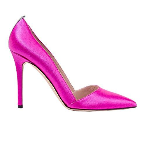 Donne 10cm Pompe Pink Modo Scarpette Party Raso Delle Dampling Alto Kolnoo Tacco wnwX6