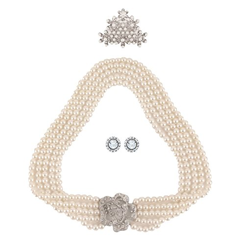 Utopiat flapper costume jewelry set-Audrey Hepburn Breakfast at Tiffany's Bridal Pearl Jewelry Set for Flapper Vintage Costume, silver, Large