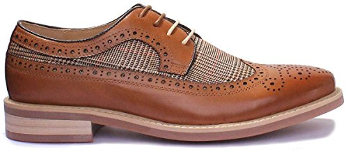 stringate stampa tweed Reece brogue a scarpe da Justin uomo Lp2 Tarten quadri Brown wavX4q