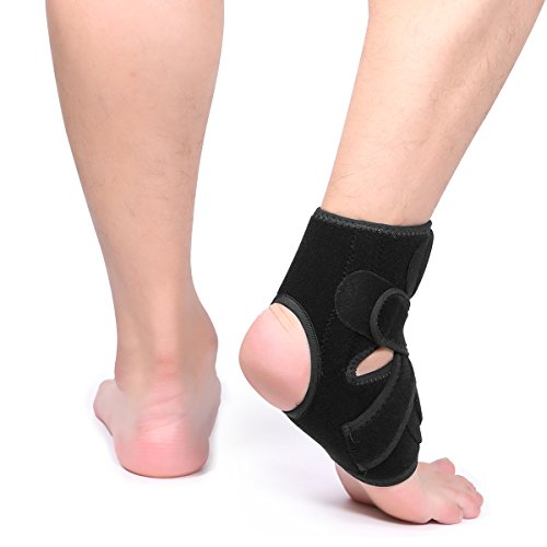 ApudArmis Ankle Support Compression Ankle Brace for Running Basketball Ankle Sprain Tendonitis – Men & Women, One Size with Adjustable Stabilizer Straps, Black