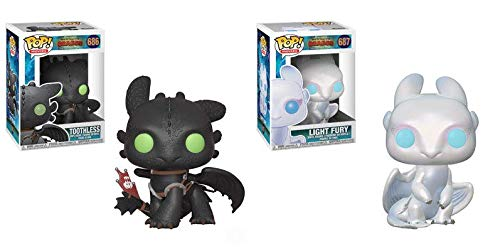 Pop! Movies: How to Train Your Dragon Toothless and Light Fury Vinyl Figures Set of 2