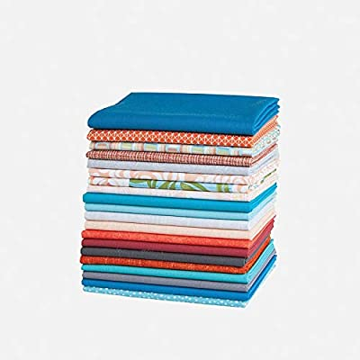 Blue /& Orange Connecting Threads Stashbuilder Precut Quilting Fabric Fat Quarter Bundle