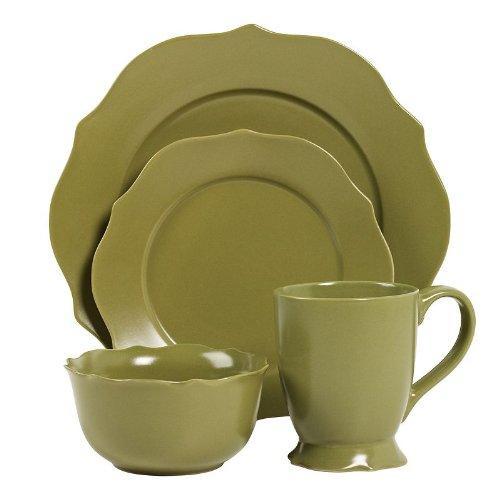 16pc Chateau Green Stoneware Dinnerware Set