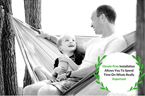 Family Forest Tree Swing Strap Hanging Kit - Two 8ft Adjustable Straps and 2 Stainless Steel Carabiners (SGS Certified) - Holds 4800 lbs - 100% Waterproof - Compatible with All Swing Types by Family Forest (Image #1)