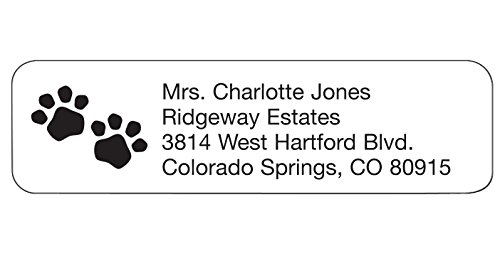 Personalized Animal Lover Design Address Labels-Classic Pawprints-Includes a Set of 200 Self-Stick Sheeted Labels Sized at 2 ¼ in. long x 5/8 in. wide