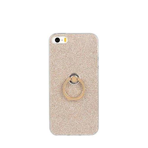 JIALUN-carcasa de telefono Caja de lujo del estilo de la chispa de Bling, cubierta suave trasera suave del brillo de TPU con el soporte de Fingerring para el iPhone 5 y 5s y SE ( Color : Pink ) Gold