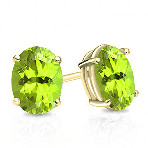 Dazzlingrock Collection 14K 6x4 mm Oval Cut Peridot Ladies Solitaire Stud Earrings 1 CT, Yellow Gold