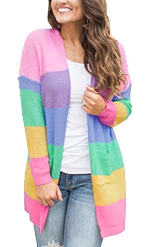 (ECOWISH Womens Color Block Striped Draped Kimono Cardigan with Pockets Long Sleeve Open Front Casual Knit Sweaters Coat Pink M )