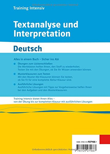Training Intensiv Textanalyse Und Interpretation Deutsch Gymnasium