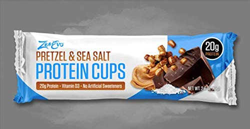 ZenEvo Chocolate Protein Cups - High Protein /Low Carb / Low Sugar / Gluten Free - Pretzel & Sea Salt Chocolate Peanut Butter 12 Ct Box