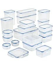 Lock & Lock HPL826S19 Easy Essential Storage Set/Food Containers Airtight Bins/BPA-Free/Dishwasher Safe, 38 Piece, Clear
