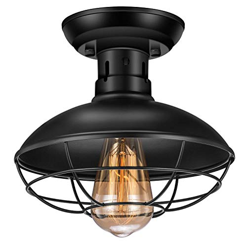 ZOOSSI Light Farmhouse Rustic Ceiling Lights Fixtures Industrial Metal Cage Ceiling Light E26 Orb Vintage Pendant Light Fixtures Dome Retro for Foyer Porch Kitchen Garage Bathroom Black