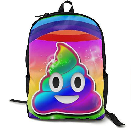 ShowRoom16 Kids Rainbow Smiling Poop Emoji Backpack Insulated Lunch Bag Pen Bag for Boys Girls(Backpack Only) ()