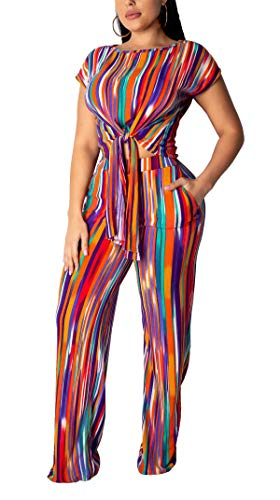 Women's Sexy Two Pieces Outfits Rainbow Color Striped Knotted Front Tunic Crop Tank Top Shirt + Bell Bottoms Pant Trousers Romper Jumpsuit Party Club Dress L ()