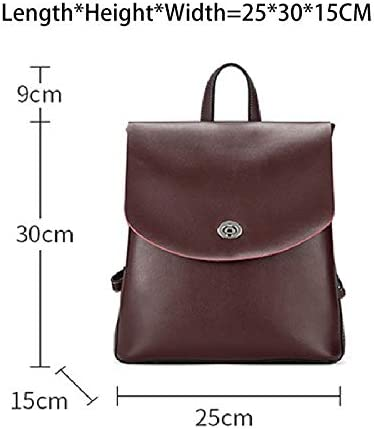 SLDSM Ladies backpack, ladies daily backpack can be used for dating business work travel gym vacation hiking backpack (Color : Dark red) Black