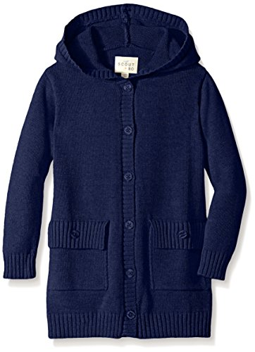 Scout + Ro Little Girls' Hooded Button-Front Cardigan Sweater, Flag Blue, - Cardigan Girls Hooded