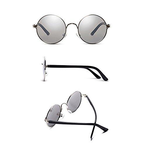 Sol Redondas Polarizadas 100 caja Plata Plateada Gafas Uv Tesite De Protección SnUxEwI1