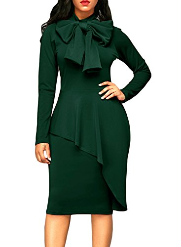 Dokotoo Womens Formal Office Special Occasion Amazon Cotton Ladies Fall High Neck Long Sleeve Peplum Bodycon Evening Party Midi Pencil Dresses For Work Medium
