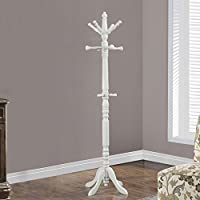 COAT RACK - 73H / ANTIQUE WHITE WOOD TRADITIONAL STYLE