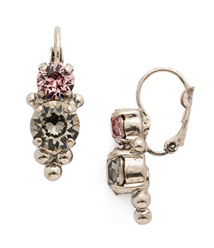 Sorrelli Army Girl Ornate Dark Grey & Antique Pink Silvertone Dangle (Sorrelli Designer Earrings)