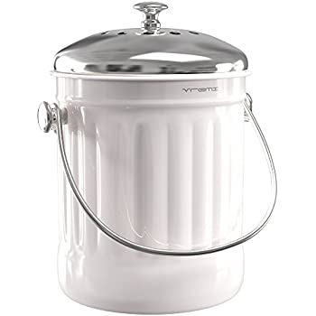 Beautiful Vremi Kitchen Compost Bin For Counter Or Under Sink   1.2 Gallon Small  Metal Indoor Home