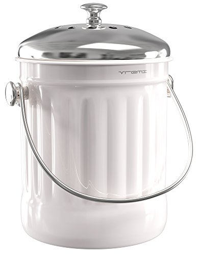Gallon Kitchen Bin (Vremi Kitchen Compost Bin for Counter or Under Sink - 1.2 Gallon Small Metal Indoor Home Apartment Eco Compost Pail for Biodegradable Organic Food Waste with Charcoal Filter - Stainless Steel - White)