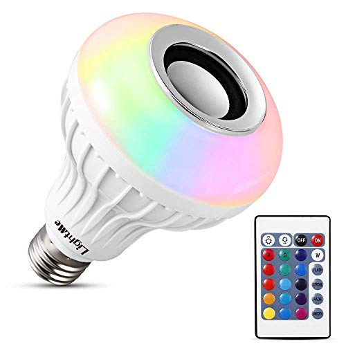 Rewy SZ02 LED Bulb with Speaker Changing Color Lamp Built-in Audio Speaker with Remote Control for Home, Bedroom, Living Room, Party Decoration (Multi-Colored)