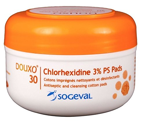 DOUXO Chlorhexidine 3% PS Pads 30 Ct. (Antiseptic Ear Powder For Dogs)