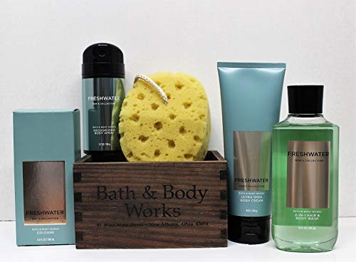 Bath and Body Works 6 pc Freshwater Men's Cologne, 2-in-1 Hair + Body Wash, Body Cream, Deodorizing Body Spray, Bath Sponge and wooden box Gift Set