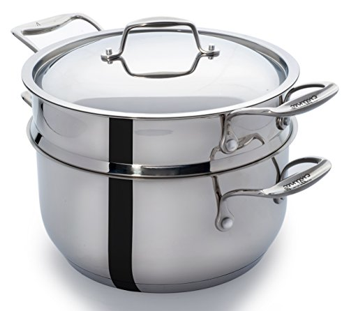 Culina Steamer Cookware with Insert 18/10 Heavy Gauge Stainless Steel 5 Qt Silver