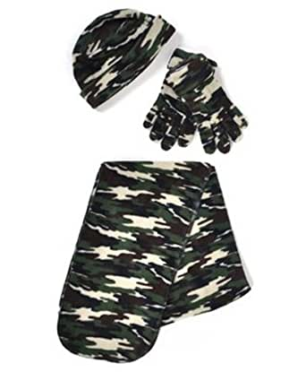 Camouflage Print 3 Piece Fleece Hat, Scarf & Glove Women's
