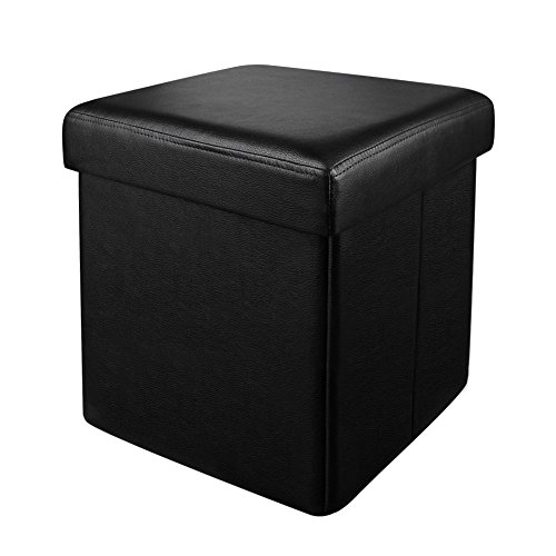 DEKINMAX Leather Folding Storage Ottoman Bench Cube Foot Rest Stool Seat Chair Coffee Table Outdoor Footstool Black 15''X15''X15'' (Black Leather Chair And Footstool)