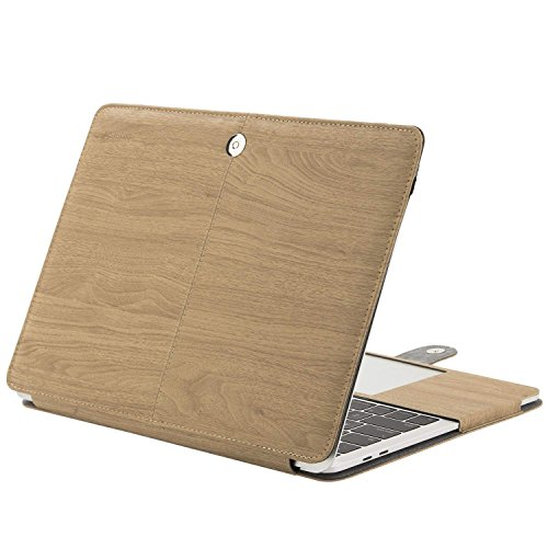 MOSISO MacBook Pro 13 PU Leather Case Compatible New 2018 2017 2016 Release A1989 / A1706 / A1708 with/Without Touch Bar, Book Folio Stand Case Cover, Light Brown Wood ()