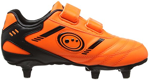Optimum Tribal Velcro Moulded Stud, Botas de Fútbol para Niños Naranja (Fluro Orange/Black)