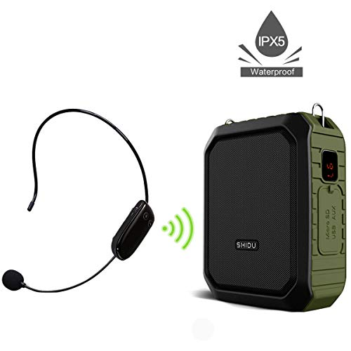 Voice Amplifier with UHF Wireless Microphone Headset, 4400mAh Rechargeable PA system, 18W Voice Loudspeaker Waterproof IPX5 Power Bank for Outdoor Activities, Teaching, Meeting, Promotion, Yoga, ect
