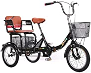 16 Inch Adult Tricycles with Shopping Basket Three Wheel Bike with Back Seat Simple Modern City Bike for Shopp