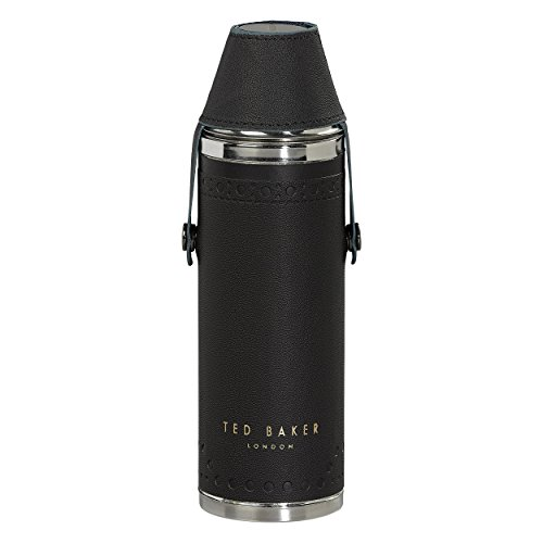 Hip Flask with Shot Cups in Black Brogue | Monkian Design | Stainless Steel | 350ml Capacity